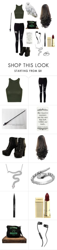 """""""Slytherin Back to School"""" by an-internet-girl ❤ liked on Polyvore featuring Topshop, Miss Selfridge, London Road, Blu Bijoux, Trish McEvoy, Lipstick Queen and Skullcandy"""