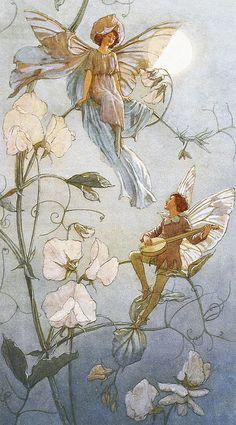 Fairies midst Sweet Peas, by Margaret Tarrant (1888-1959)