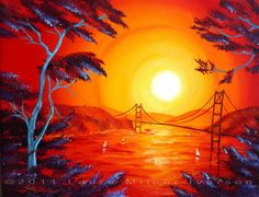 San Francisco Bay in Bright Sunset Original Acrylic Painting by Laura Milnor Iverson