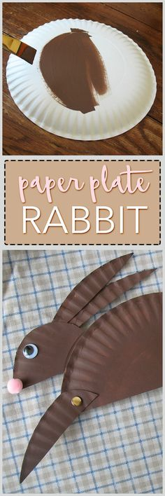 Make an adorable paper plate rabbit with the kids. This cute paper plate craft for kids is great for Easter, a forest unit, or any time of the year! Paper Plate Crafts For Kids, Easter Crafts For Kids, Easter Ideas, Easter Art, Hoppy Easter, Daycare Crafts, Preschool Crafts, Spring Crafts, Holiday Crafts