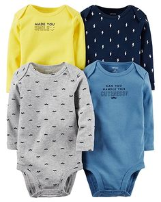 Carter's Baby Boys Multi-Pack Bodysuits Assorted, 18 Months 4 pack long-sleeved bodysuits with nickel-free snaps expandable shoulders Newborn Boy Clothes, Baby Boy Newborn, Baby Kids, Clothes Swag, Baby Outfits, Kids Outfits, Niñas Carters Baby, Bebe Baby, Baby Boy Fashion