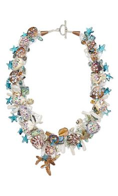 Single-Strand Necklace with SWAROVSKI ELEMENTS, Shell Beads, Cultured Freshwater Pearls and Wirework - Fire Mountain Gems and Beads