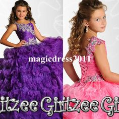2015 Bling Girl's Pageant Dresses with Spaghetti Beaded Ball Gown Blue Pink Purple Organza Dresses for Pageant Little Flower Girl's Dress Online with $113.09/Piece on Magicdress2011's Store | DHgate.com
