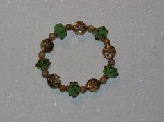 BEAD STRETCH BRACELET-GEMSTONE-LAMPWORK-TIERRA CAST-BROWN-GREEN-GOLD & FREE GIFT-$14.99   eBay