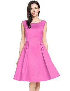 Pink purple O-Neck Sleeveless Mesh Patchwork A-Line Party Dress