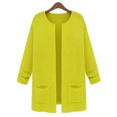 Solid Color Loose-Fitting Knit Casual Style Collarless Long Sleeve Women's Coat, YELLOW, ONE SIZE in Jackets & Coats | DressLily.com