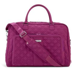 Vera Bradley Weekender Travel Bag in Plum ($111) ❤ liked on Polyvore featuring bags, luggage, plum, travel and travel bags