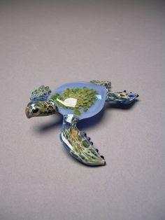 Blue sea turtle with Anemone  inside the turtle by Glassnfire, $49.00