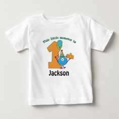 Little Monster Kids 1st Birthday Personalized Baby T-Shirt