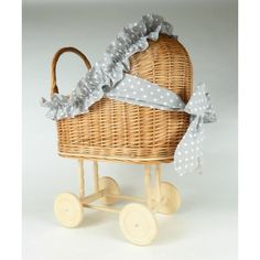 WIKLIBOX wicker & wood doll pram in the NATURAL colour. Available with many cotton bedding and ribbon colours. Baby walker by WIKLIBOX on Etsy Dolls Prams, Cotton Bedding, Ribbon Colors, Bassinet, Wicker, Little Girls, Colours, Natural, Wood