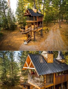 Located on a seven-acre forested property outside of Whitefish, the Montana Treehouse Retreat is an impressive ideal for a couple or a family of four looking to connect with nature and find some piece of mind. Treehouse Vacations, Treehouse Hotel, Luxury Tree Houses, Dream Houses, Tiny House Rentals, Normal House, Retreat House, Tree House Designs, Diy Pallet Furniture