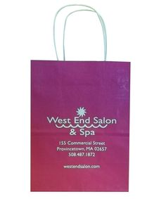 West End Salon & Spa - Tinted Paper Shopping Bag hot stamped http://actionbag.com/tinted-shopping-bags/p/TR50308/