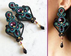 Soutache Earrings Handmade Earrings Hand Embroidered di LaviBijoux