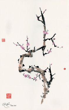 Chinese Brush Painting Plum - Plum of Interest © Nan Rae