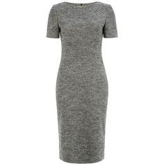 Hobbs Juliane Dress (€215) ❤ liked on Polyvore featuring dresses, women, hobbs dresses, grey long sleeve dress, gray dress, slimming dresses and pencil dress