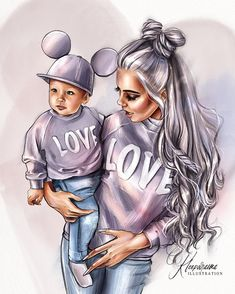 A imagem pode conter: 1 pessoa Mother Daughter Art, Mother Art, Best Friend Drawings, Girly Drawings, Sarra Art, Girly M, Cute Girl Wallpaper, Baby Drawing, Drawing Drawing