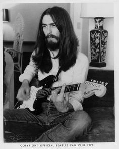 Official @thebeatles #FanClub George Harrison photo, 1970. @Fender #Stratocaster