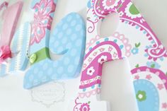 Pink and Blue Paisley Brooklyn Hand Painted by KraftinMommy