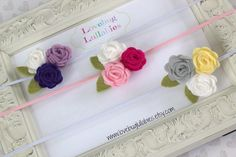 Felt Flower Trio SET OF 3 Headbands or Hair by LovebugLullabies