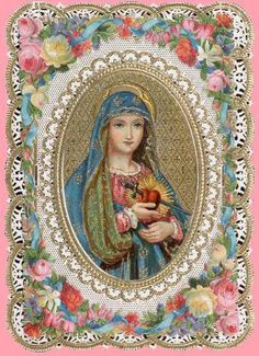 Such a lovely Holy Card of the Blessed Mother. Religious Pictures, Religious Icons, Religious Art, Blessed Mother Mary, Blessed Virgin Mary, Christian Images, Christian Art, Jesus E Maria, Vintage Holy Cards