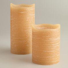 Amber Rustic LED Pillar Candles