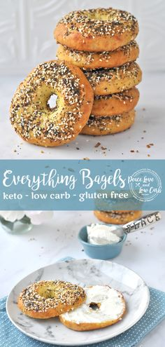 6 net carbs- Starbucks Chonga Bagel Copycat Recipe - All the flavors of your favorite Everything Bagel, but without all the carbs and gluten. Low Carb Keto Everything Bagels I Have Breakfast, Low Carb Breakfast, Breakfast Recipes, Dessert Recipes, Breakfast Ideas, Dinner Recipes, Breakfast Biscuits, Breakfast Cereal, Breakfast Quiche