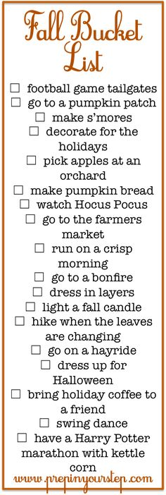 Fall Bucket List + Fun Fall Activities (via Bloglovin.com )