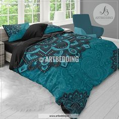 Bohemian teal bedding, Dark teal and turquoise Mandala duvet cover set, teal boho comforter set, Boho bedding, mandala bedspread