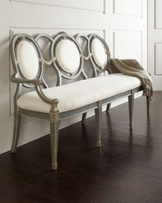 Shop Harrison Three-Person Bench at Horchow, where you'll find new lower shipping on hundreds of home furnishings and gifts. Living Room Chairs, Dining Room Furniture, Home Furniture, Entry Furniture, Furniture Dolly, Painted Furniture, Furniture Ideas, Dining Banquette Bench, Dining Tables