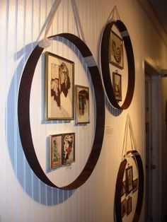 Gallery Wall Another great use for wine barrel rings. Would look really great with the rings bent into heart shapes too. Wine Barrel Crafts, Wine Barrel Rings, Wine Barrels, Wine Ring, Barrel Projects, Diy Projects, Wine Barrel Furniture, Wine Decor, Bourbon Barrel