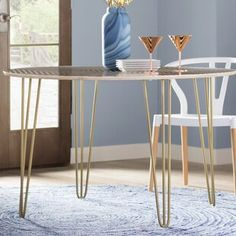 New Corbin Solid Wood Dining Table by Wade Logan kitchen dining furniture sale. offers on top store Solid Wood Dining Table, Extendable Dining Table, Round Dining Table, Kitchen Dining, Artificial Marble, Mid Century Design, Table And Chairs, All Modern, Home Furniture