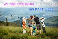 Baby announcement, snowboarding baby announcement, cute announcement