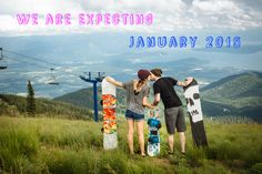 Baby announcement, snowboarding baby announcement, cute announcement