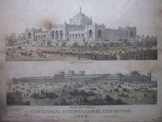 1876 Philadelphia International Exhibition Engraving Art Gallery Fairmount Park #Realism