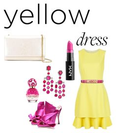 """""""Yellow and fresh"""" by wasan2008 on Polyvore featuring Oscar de la Renta, Moschino, Ivy, Marc Jacobs, NYX and Yves Saint Laurent"""