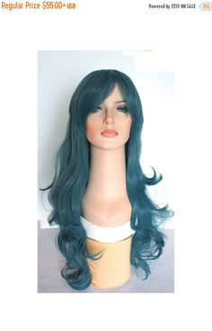 Halloween SALE Long curly dusty blue wig hair synthetic gray blue wig -high quality wig - ready to ship. by wigglywigs. Explore more products on http://wigglywigs.etsy.com