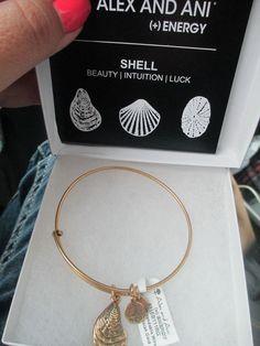 ALEX and ANI Energy  russian gold RARE mussel shell bangle bracelet with box #AlexandAni #Bangle