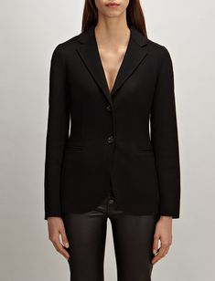 Light Double Cashmere Archi Jacket, in BLACK, large | on Joseph