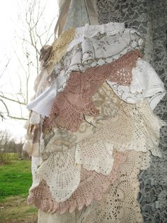 Doily Ruffle NeutralTote Bag Purse in Vintage by FrillSeekerz, $40.00