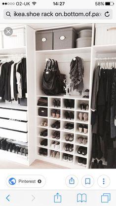 Walk in closet ideas, walk in closet design, walk in closet dimensions, walk in closet systems, small walk in closet organization Wardrobe Closet, Master Closet, Closet Bedroom, Closet Space, Home Bedroom, Bedroom Decor, Bedrooms, Ikea Closet, Ikea Shoe