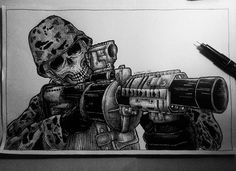 I'm gonna shoot you . . #drawing #draw #illustration #artwork #iblackwork #snowmanid #snowmanmarker #penandink #army #riseboomink