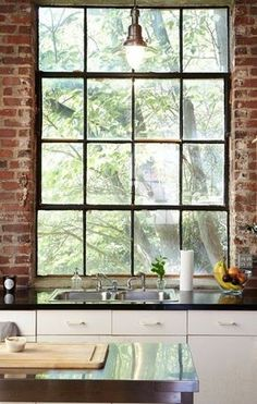 Ideas For Kitchen Window Backsplash Exposed Brick Style At Home, Apartment Therapy, Casa Loft, Big Windows, Black Windows, Deco Design, Exposed Brick, Apartment Kitchen, Home Fashion