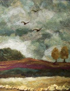 This is an original needlefelt wool painting with a design size of 11 x 14. It is entirely done by hand with various wools on felt with art yarn. If you