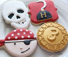Pirate Birthday Cookies, Skull Cookie, Captain Hook Cookie, Gold Coin Cookie, Pirate Birthday Party Favors, Custom Cookies, by Bakinginheels on Etsy https://www.etsy.com/listing/518812296/pirate-birthday-cookies-skull-cookie