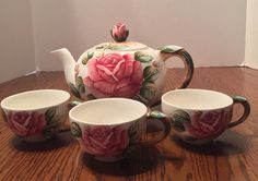 Lefton Americana Rose Pink Rose Teapot #952 with 3 Matching Tea Cups #957. #Lefton