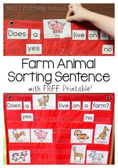 Farm Animal Sorting Sentences Work on early literacy and reading with this free…