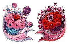Pink And Red Cupcake Tattoos Designs