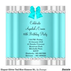 Customizable Invitation made by Zazzle Invitations. Silver High Heels, Create Your Own Invitations, 16th Birthday, Teal Blue, White Envelopes, Rsvp, Glitter, Glamour, Elegant