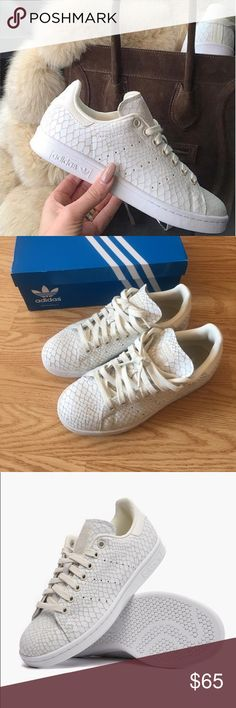 Adidas Stan Smith off-white reptile sneakers US 6.5/UK 5 (I am a women's 8 in sneakers and these fit) authentic adidas Stan smiths from the adidas store in chicago. No longer available in stores. Come with original box. No major signs of wear except for shoe sole. Bottom of shoe can easily be cleaned. Open to offers. No low balling. adidas Shoes Sneakers