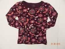 NWOT Old Navy Girls Floral Long Sleeved T-Shirt Size XS Burgundy Pink